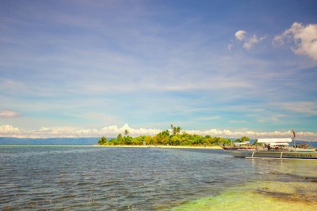 Panoramiczny widok na idealną plażę z zielonymi palmami, białym piaskiem i turkusową wodą