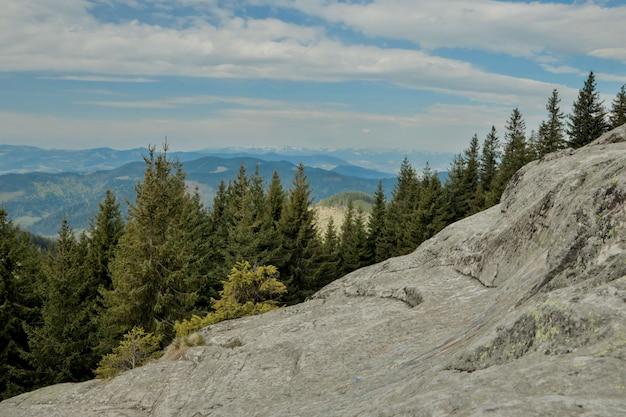 Panoramiczny widok na malowniczy krajobraz karpat z leśnymi zboczami, pasmami górskimi i szczytami