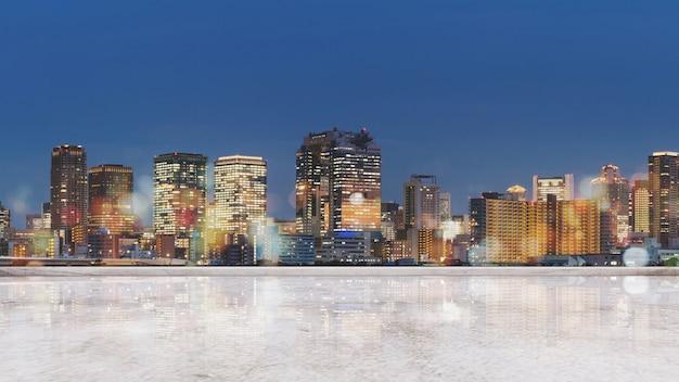 Panoramiczny widok na miasto osaka w nocy