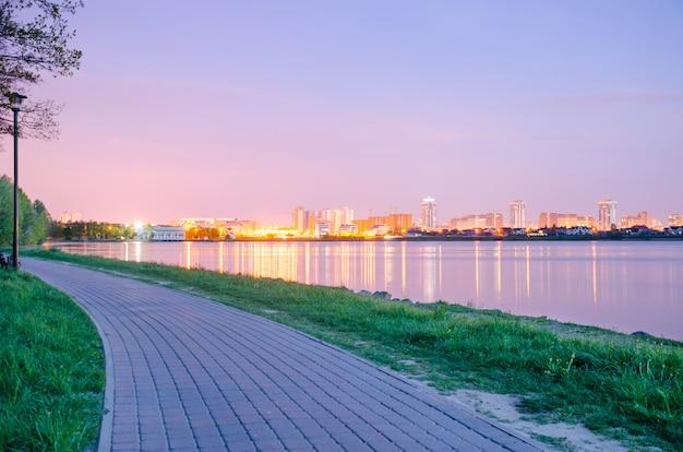 Panoramiczny widok na miasto w nocy w światłach