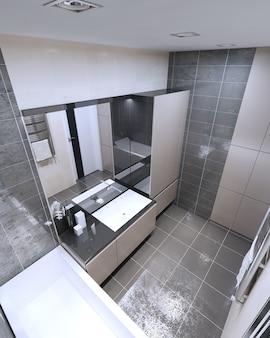Panoramiczny widok na nowoczesną łazienkę