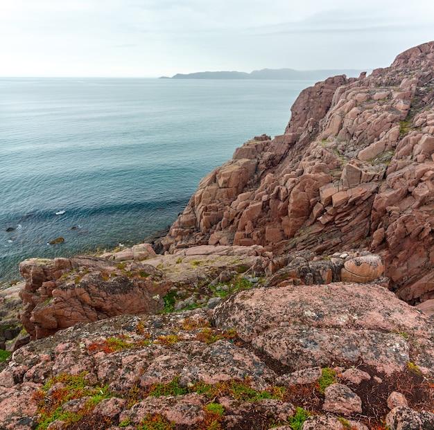 Panoramiczny widok na skalisty brzeg morza barentsa. półwysep kolski, arktyka