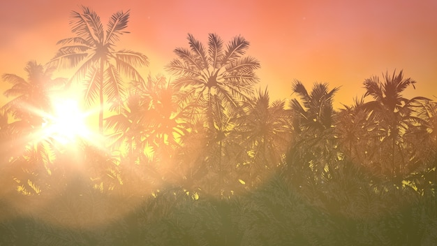 Panoramiczny widok na tropikalny krajobraz z palmami i zachodem słońca, lato w tle. elegancka i luksusowa ilustracja 3d w stylu retro z lat 80. i 90.
