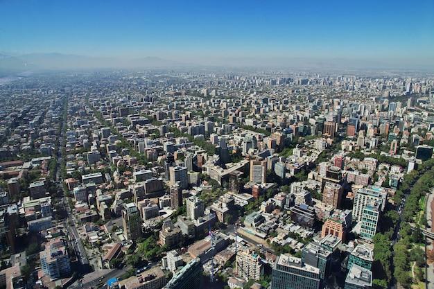 Panoramiczny widok santiago od torre costanera, chile