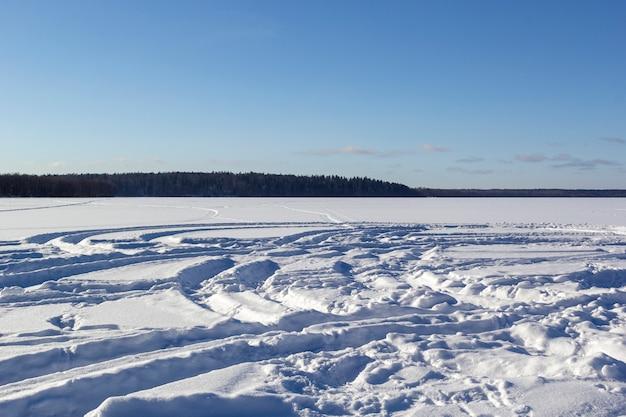 Panoramiczny widok zimy krajobraz z polem biały śnieg i las na horyzontu mroźnym dniu.