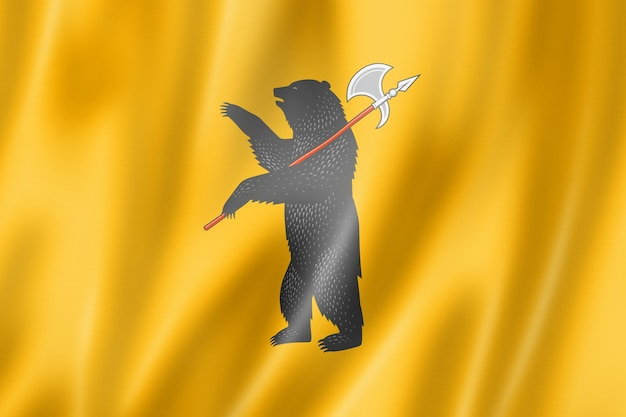 Państwo jarosław - obwód - flaga, rosja macha kolekcja transparentu. ilustracja 3d