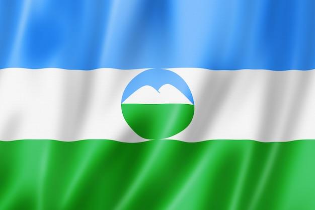 Państwo kabardino bałkar - republika - flaga, rosja macha kolekcja transparentu. ilustracja 3d