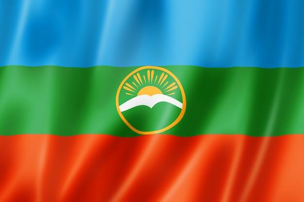 Państwo karaczaj-czerkiesja - republika - flaga, rosja macha kolekcja transparentu. ilustracja 3d
