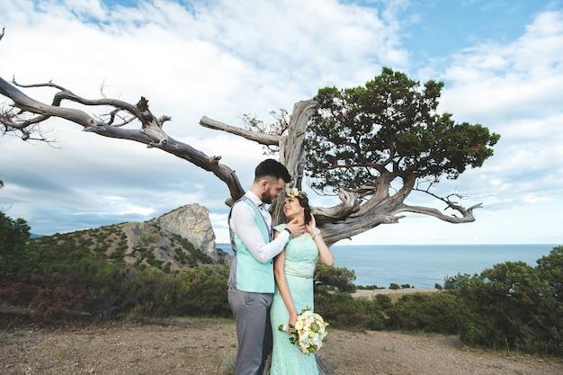 Państwo młodzi na naturze w górach blisko wody. kolor garnituru i sukienki tiffany. całowanie w pobliżu drzewa.