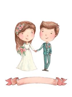 Państwo młodzi z kwiatami i faborkiem, akwareli ilustraci ślub