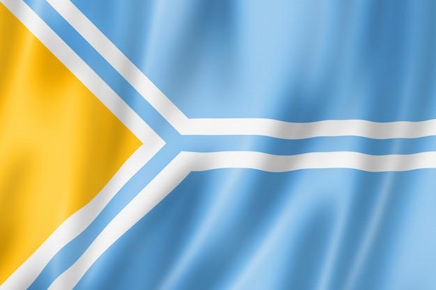Państwo tuwa - republika - flaga, rosja macha kolekcja transparentu. ilustracja 3d