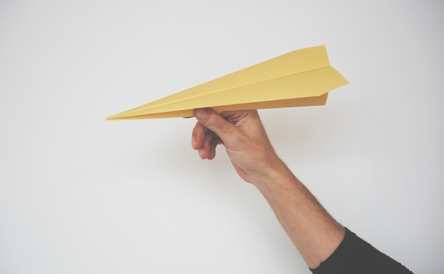 Paper plane origami throwing play