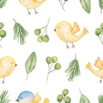Papier cyfrowy wiosna akwarela. bezproblemowa wiosna wzór. neutralne delikatne ptaki zwierzęce i wzory kwiatowe zieleni. projektowanie tkanin