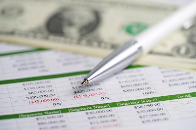 Papier do arkuszy kalkulacyjnych, banknoty dolara amerykańskiego, długopis.