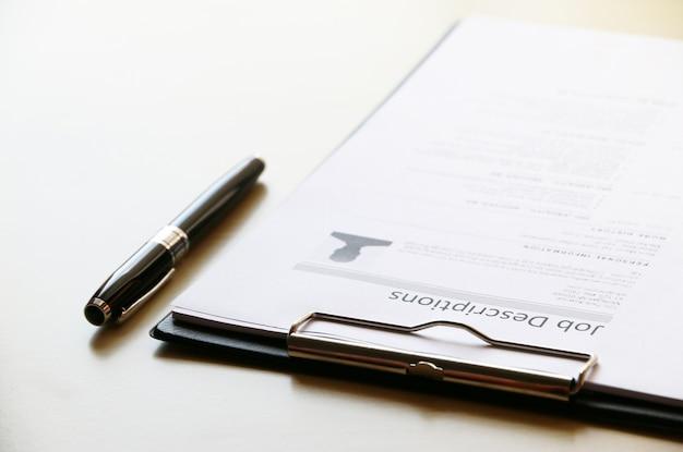 Papier opisów pracy concept