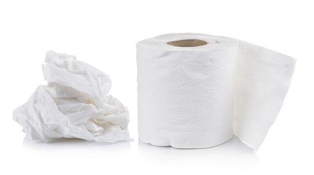 Papier toaletowy na białym tle