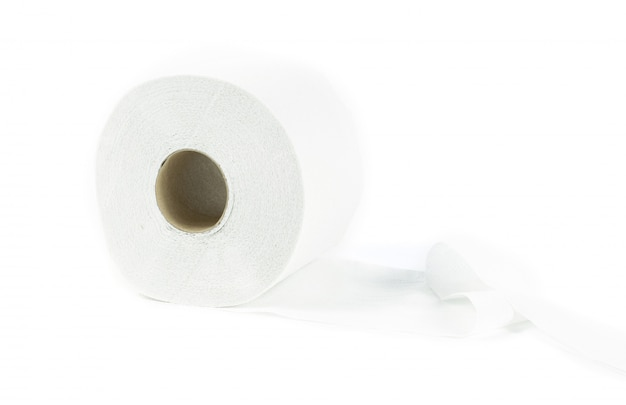 Papier toaletowy tkanka na białym tle