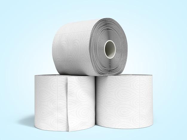 Papier toaletowy w rolkach renderowania 3d na niebieskim tle gradientu