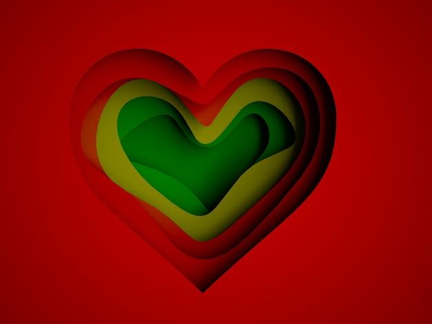 Papier wielowarstwowy w kształcie serca, renderowanie 3d