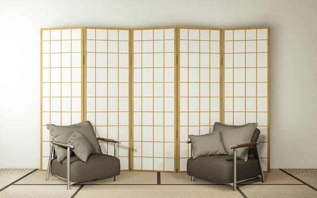 Papier z drewnianymi ściankami działowymi i fotel na podłodze tatami w salonie.