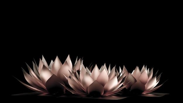 Papier złoty kwiat i trawa. renderowanie 3d.