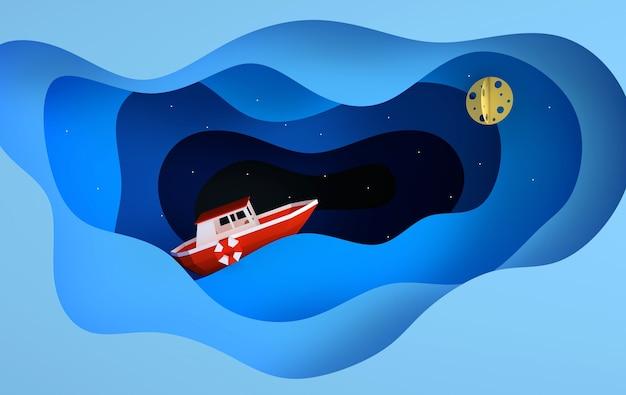 Papierowa czerwona łódź żeglująca po oceanie lub morzu gwiazd księżyca renderowania