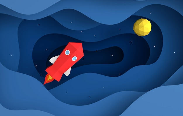 Papierowa grafika przedstawiająca wystrzelenie promu kosmicznego w niebo