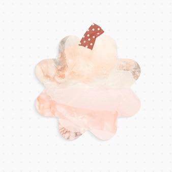 Papierowa notatka z pastelowym abstrakcyjnym kształtem kwiatu i taśmą washi