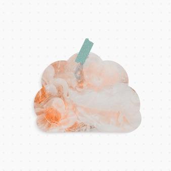 Papierowa notatka z pastelowym abstrakcyjnym tłem w kształcie chmury i taśmą washi
