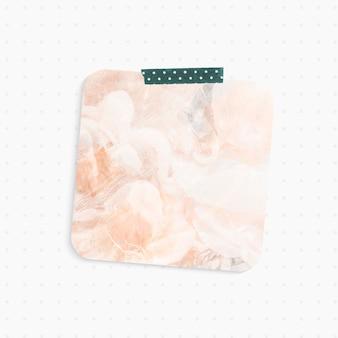 Papierowa notatka z pastelowym abstrakcyjnym tłem w kształcie kwadratu i taśmą washi
