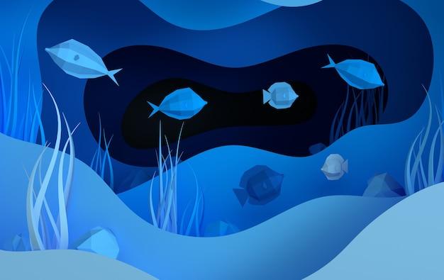 Papierowa podwodna jaskinia morska z kamieniami ryb na dnie morskim w falach alg