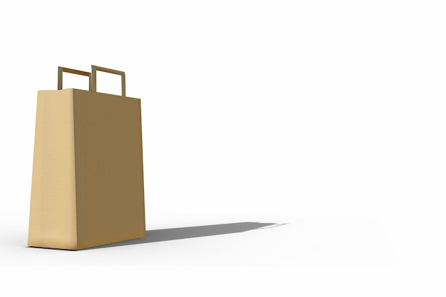 Papierowa torba na białym tle obraz 3d do projektowania makiety