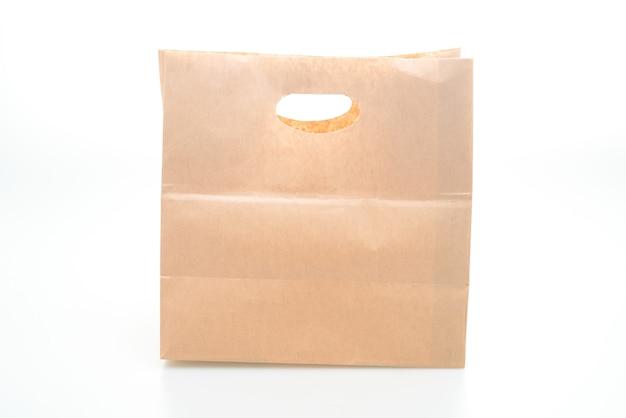 Papierowa torba na białym tle