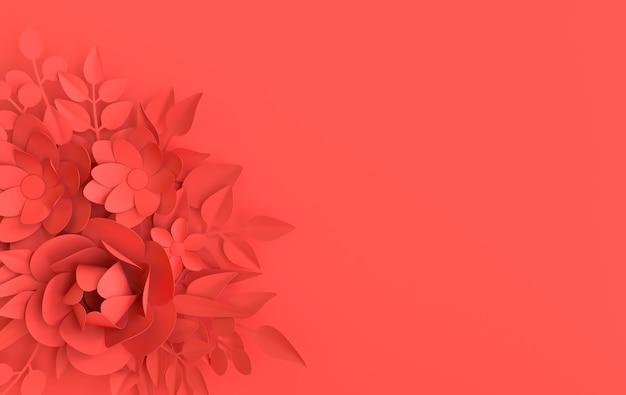 Papierowe eleganckie białe kwiaty i liście kwiatowy origami