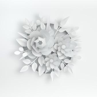 Papierowe eleganckie białe kwiaty i liście na białym