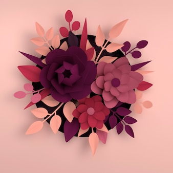 Papierowe eleganckie białe kwiaty i liście na różowym tle