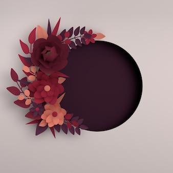 Papierowe eleganckie ciemnoczerwone kwiaty i gałęzie w tle