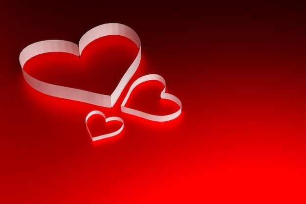 Papierowe serce na czerwonej powierzchni, koncepcja walentynki, renderowanie ilustracji 3d