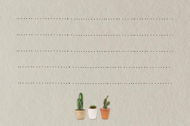 Papierowe tło notatki z roślinami kaktusowymi