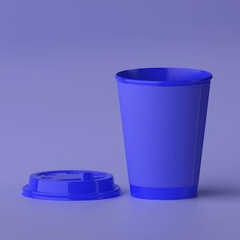 Papierowy kubek do kawy makieta projektu 3d niebieska filiżanka