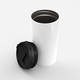 Papierowy kubek do kawy z czarną pokrywką na białym tle z renderowaniem 3d, makiety do swojego projektu for