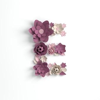 Papierowy kwiat alfabetu litera e renderowania 3d