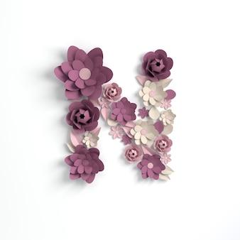 Papierowy kwiat alfabetu litera n renderowania 3d