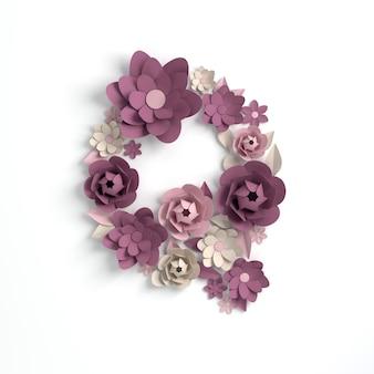 Papierowy kwiat alfabetu litera q renderowania 3d