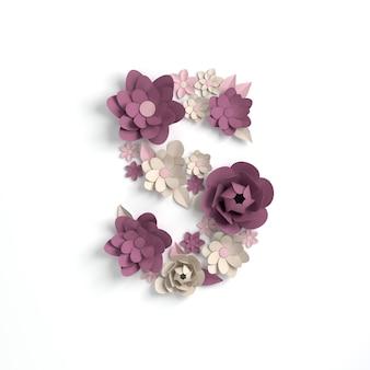 Papierowy kwiat alfabetu litera s renderowania 3d