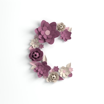 Papierowy kwiat litera alfabetu c renderowania 3d