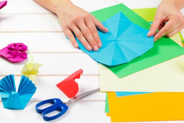 Papiery origami z bliska