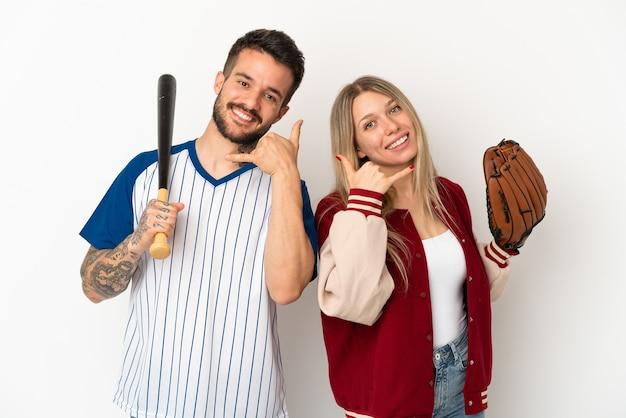 Para gra w baseball na białym tle co telefon gest. oddzwoń do mnie znak