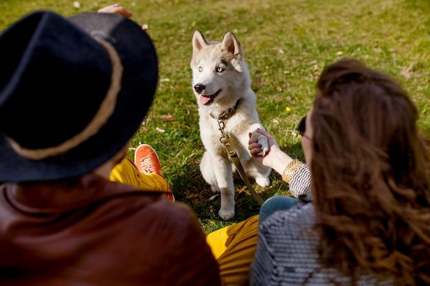 Para i husky siedzi w parku