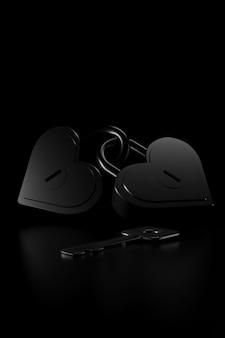 Para kształt serca klucza głównego. renderowanie 3d.